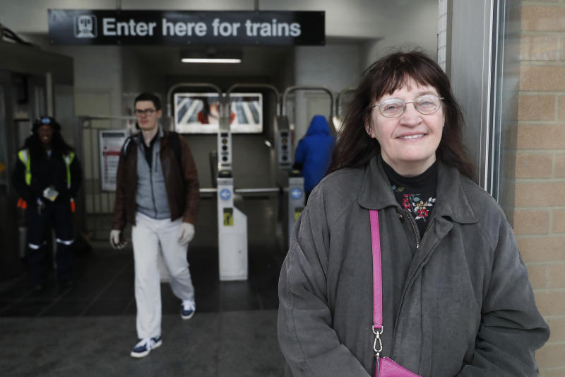 "Playwright Vicki Quade poses for a portrait at the North & Clybourn Streets ""L"" station Monday, March 9, 2020, in Chicago. Older adults, those 60 and up like Quade should avoid crowds, cruises and long plane trips to avoid the coronavirus, advice that one public health official acknowledged won't be welcomed by many. Quade, 66, said she thinks most of the advice is extreme. ""Yes, be a bit more cautious, wash your hands and if you're not feeling good, stay inside,"" ""I'm not that worried. Perhaps I should be but I think we have to continue just living our lives,"" Quade said. (AP Photo/Charles Rex Arbogast)"