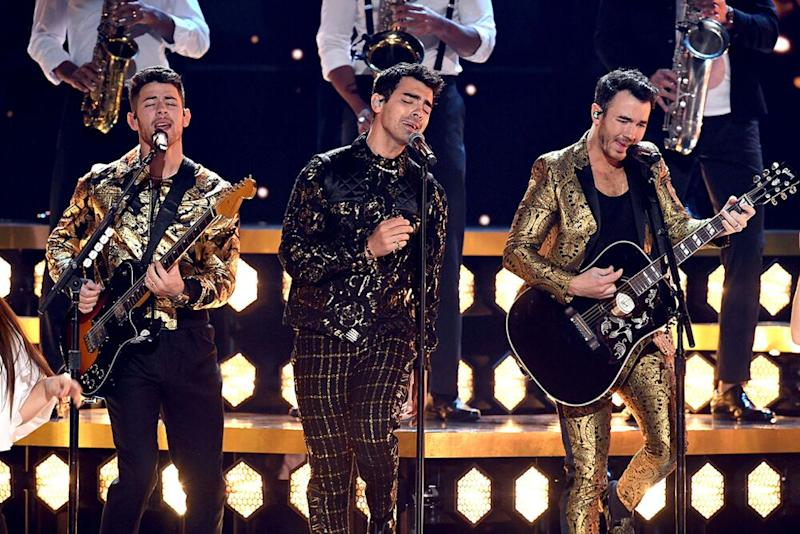 From left: Nick, Joe and Kevin Jonas, Jan. 26 | Kevin Winter/Getty