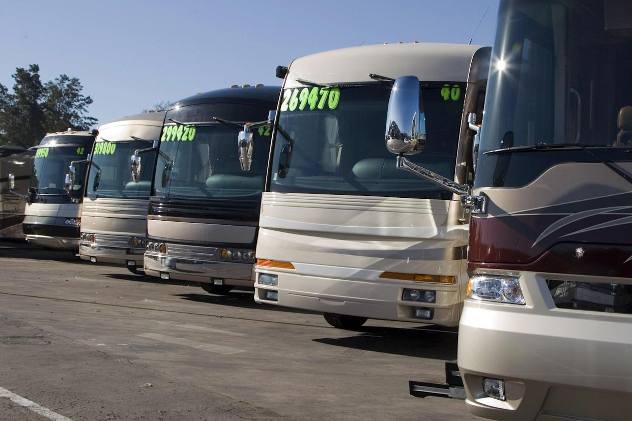 RVs for sale at a dealership