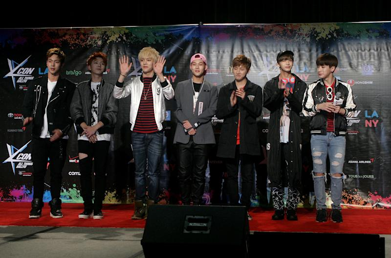 """LOS ANGELES, CA - AUGUST 01: Monsta X attend KCON 2015 at the Los Angeles Convention Center on August 1, 2015 in Los Angeles, California. KCON is an annual K-Pop convention held in the United States and Japan that celebrates the expansion of Korean pop culture known as """"Hallyu"""" or """"Korean Wave"""". (Photo by Matthew Simmons/Getty Images)"""