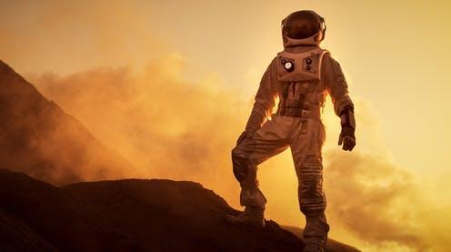 "<span class=""caption"">The brain is deeply affected by the change of gravity.</span> <span class=""attribution""><a class=""link rapid-noclick-resp"" href=""https://www.shutterstock.com/image-photo/silhouette-astronaut-standing-on-rocky-mountain-1049625047"" rel=""nofollow noopener"" target=""_blank"" data-ylk=""slk:Gorodenkoff/Shutterstock"">Gorodenkoff/Shutterstock</a></span>"