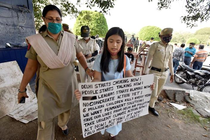 Licypriya protested outside Parliament in October 2020