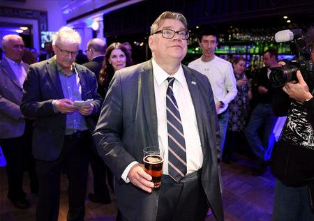 The True Finns Chairman Timo Soini enjoyed a beer while watching the results of the Finland's municipal elections in Helsinki, Finland on Sunday, April 9, 2017. Lehtikuva/Jussi Nukari/via REUTERS
