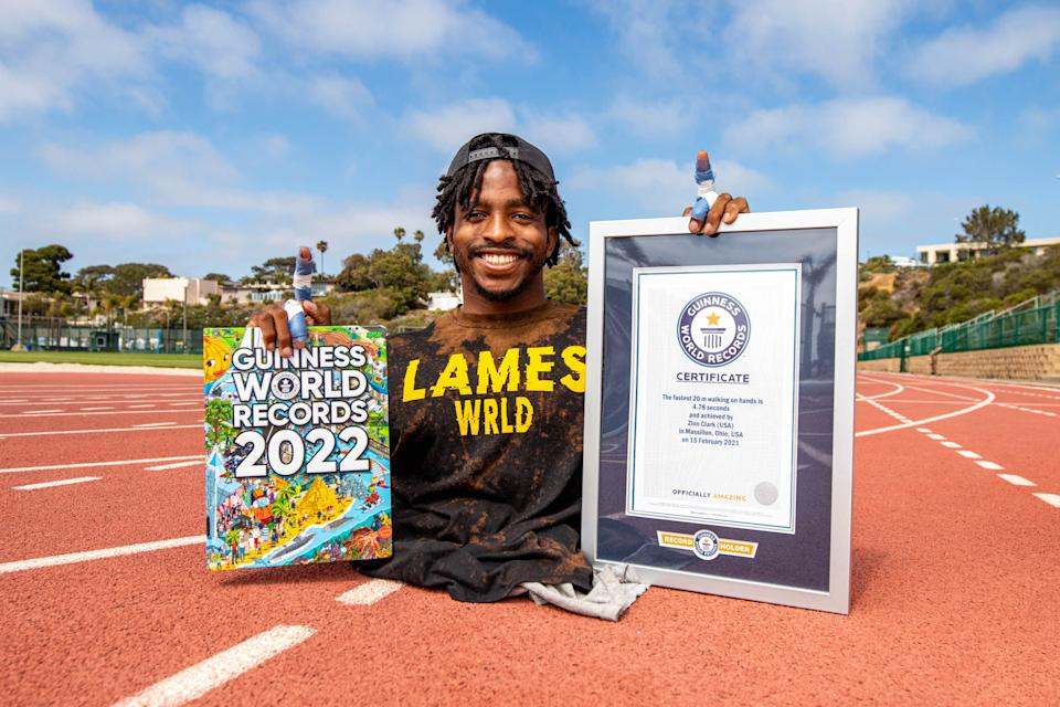Zion Clark – Fastest 20m On Hands_3   CAPTION  Zion Clark completed 20m walking on his hands in 4.78 seconds (Guinness World Records 2022)