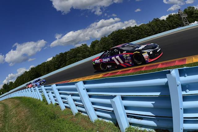 "<a class=""link rapid-noclick-resp"" href=""/nascar/sprint/drivers/1283/"" data-ylk=""slk:Denny Hamlin"">Denny Hamlin</a> got his second win of the season on Sunday (Getty)."