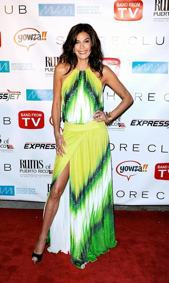 """FASHION ALERT: Tie-dye is back and better than ever! While in Miami, Eva's """"Housewives"""" costar Teri Hatcher did her part to resurrect the trend by daring to wear this loud 'n' proud Roberto Cavalli maxi dress. Chris Gordon/<a href=""""http://www.wireimage.com"""" target=""""new"""">WireImage.com</a> - May 16, 2009"""
