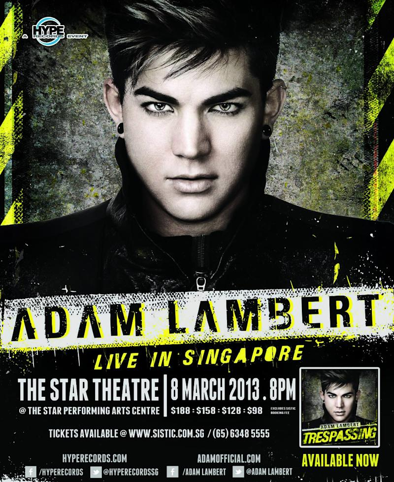 Rocker Adam Lambert to stage full-length concert in Singapore on 8 March. (Photo: Hype Records)