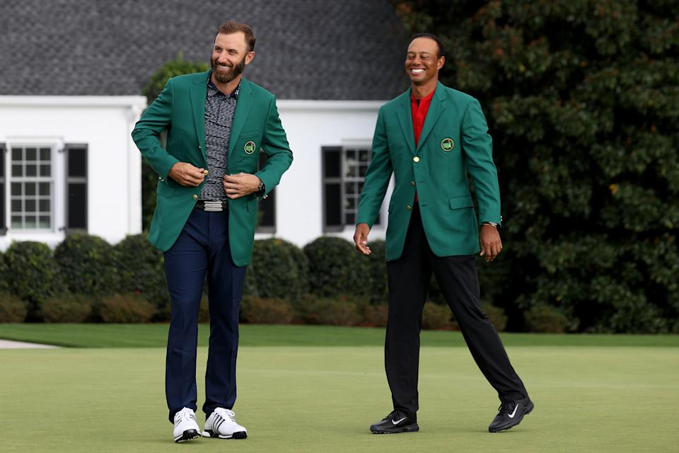 In one of his last public appearances before his crash, Tiger Woods congratulated Masters winner Dustin Johnson. (Photo by Rob Carr/Getty Images)