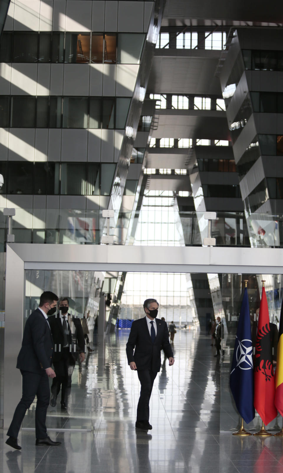 U.S. Secretary of State Antony Blinken arrives to deliver an address after a meeting of NATO foreign ministers at NATO headquarters in Brussels on Wednesday, March 24, 2021. (AP Photo/Virginia Mayo, Pool)