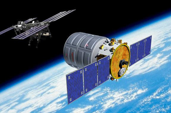 Artist's rendition of Orbital Sciences' Cygnus cargo spacecraft in orbit, on its way to the International Space Station (ISS).