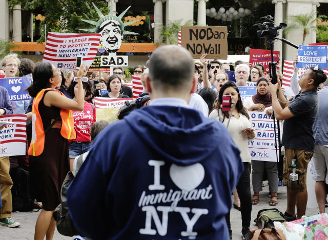 <p>Protestors of a travel ban gather in Union Square, June 29, 2017, in New York. A scaled-back version of President Donald Trump's travel ban takes effect Thursday evening, stripped of provisions that brought protests and chaos at airports worldwide in January yet still likely to generate a new round of court fights. (AP Photo/Frank Franklin II) </p>