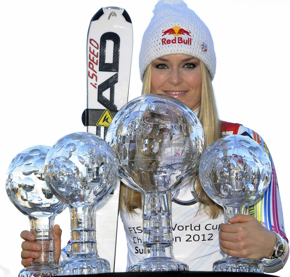 "FILE -This March 18, 2012 file photo shows Lindsey Vonn, of the United States, posing with her alpine ski, women's World Cup trophies for the super-G, super-combined, downhill and overall titles, in Schladming, Austria. The United States ski team says it hasn't had any ""formal discussion"" yet about the possibility of Lindsey Vonn entering a men's World Cup downhill next month. Vonn, the women's Olympic downhill champion, has written the International Ski Federation to ask whether she can challenge the men on Nov. 24 in Lake Louise, Alberta. Vonn has earned nine of her 26 World Cup downhill victories at the Canadian track, which stages women's races the following weekend. The U.S. Ski and Snowboard Association says ""we clearly have great respect for Lindsey, her accomplishments in the sport and her desire to seek this new challenge. But we have not had any formal discussion yet between Lindsey and FIS."" FIS secretary general Sarah Lewis tells The Associated Press the governing body can't make a decision on the matter until the team submits a formal request. (AP Photo/Armando Trovati, File)"