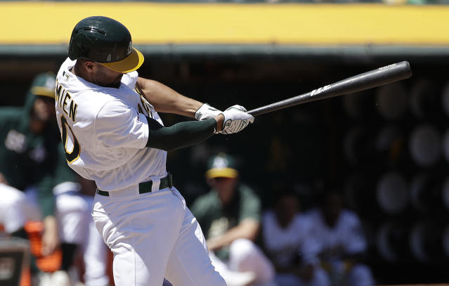 Oakland Athletics' Marcus Semien hits a three-run home run against the Texas Rangers during the second inning of a baseball game in Oakland, Calif., Wednesday, April 24, 2019. (AP Photo/Jeff Chiu)