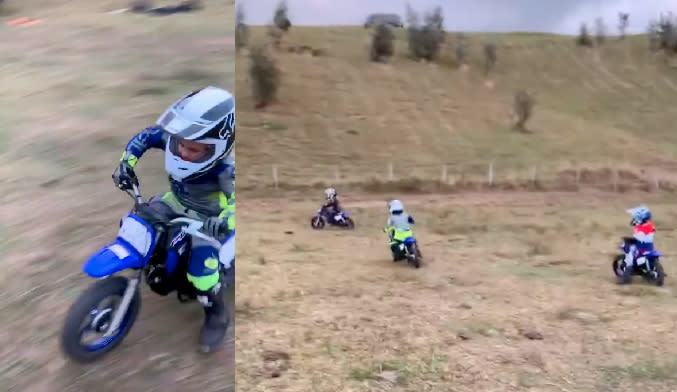 The kids didn't hold back as they brunt rubber on their Yamaha Peewee 50 dirt bikes. Photo: Instagram/ chrishemsworth