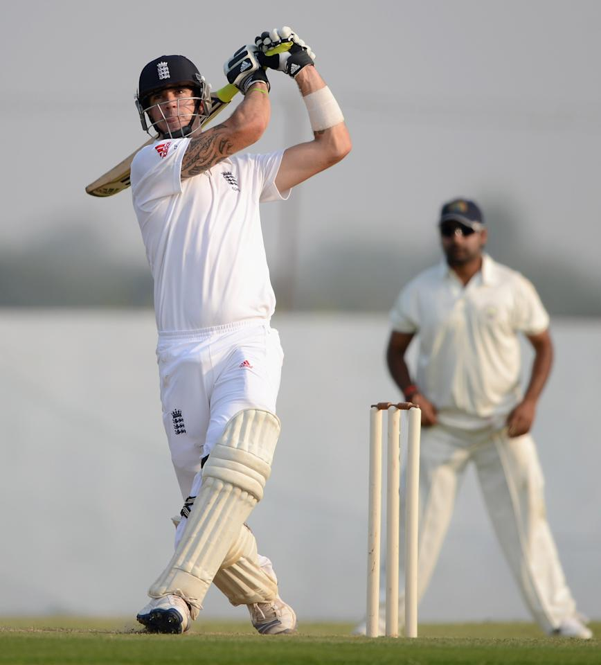 AHMEDABAD, INDIA - NOVEMBER 08:  Kevin Pietersen of England bats during the tour match between England and Haryana at Sardar Patel Stadium ground B on November 8, 2012 in Ahmedabad, India.  (Photo by Gareth Copley/Getty Images)