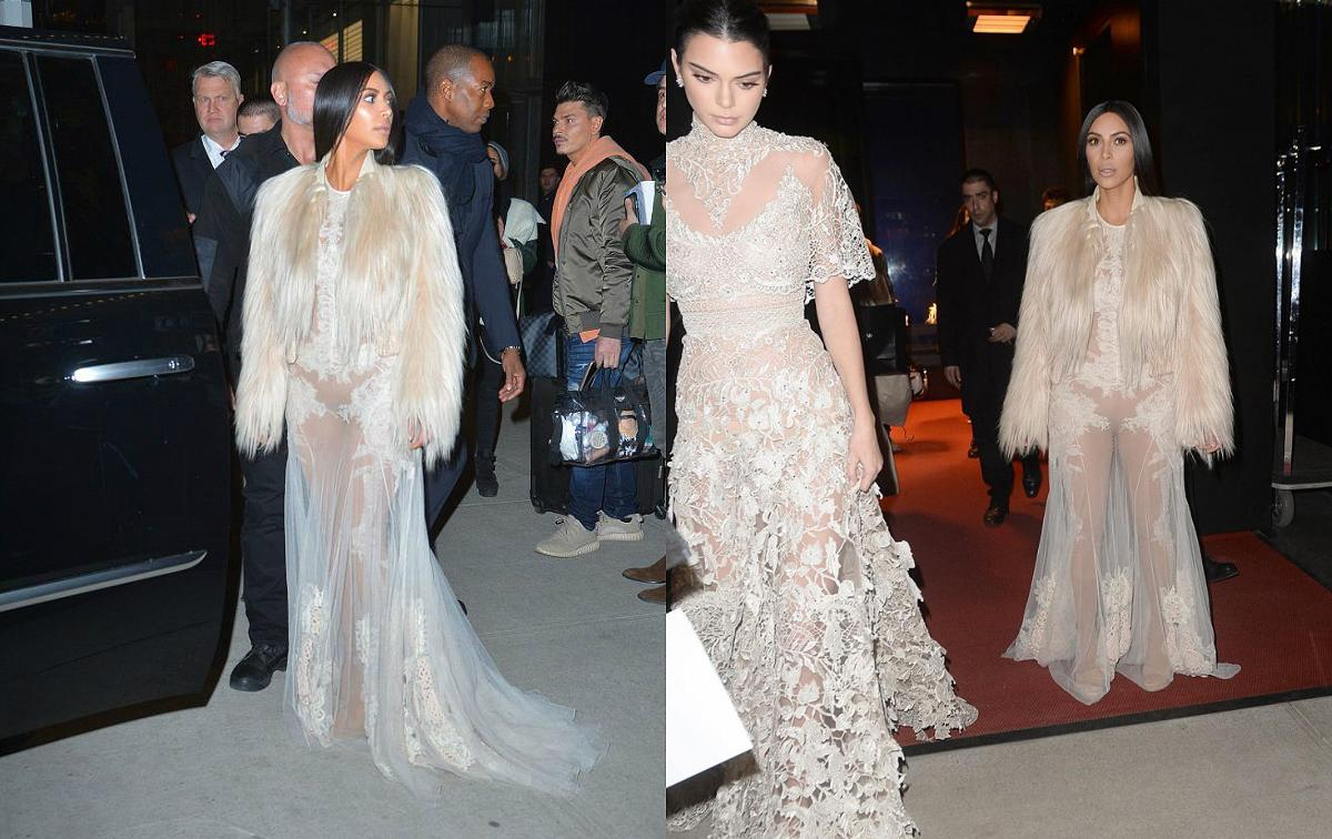 "<p><b>When: Jan. 16, 2017</b> <br /> A few days later, Kim and Kendall donned matching see-through couture gowns for a reported cameo appearance in ""Ocean's Eight."" Kim opted for a white sheer Givenchy gown from the Fall 2010 couture collection, and paired it with a furry coat while Kendall looked stunning in a sheer lace Elie Saab dress. <i> {Photos: Instagram/kuwtkjen (L) /Rex (R)} </i> </p>"