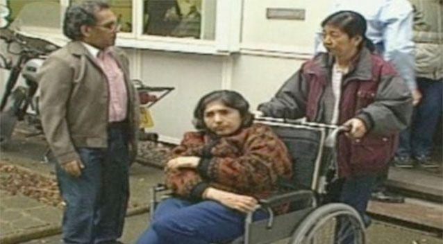 Maoists Aravindan Balakrishnan (left) and his wife Chanda (centre) outside a 1997 inquest into the death of Sian Davies. Photo: ITV