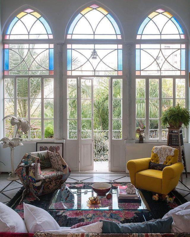 "<p>Stained glass windows, pattern-punched decor, and touches of greenery give this Beirut home its summertime charm.</p><p><a href=""https://www.instagram.com/p/B8B20uOJJkE/"" rel=""nofollow noopener"" target=""_blank"" data-ylk=""slk:See the original post on Instagram"" class=""link rapid-noclick-resp"">See the original post on Instagram</a></p>"