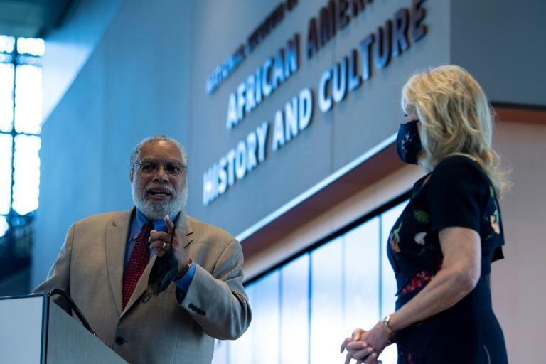 US First Lady Jill Biden wore her mask during a visit to the Smithsonian's National Museum of African American History and Culture