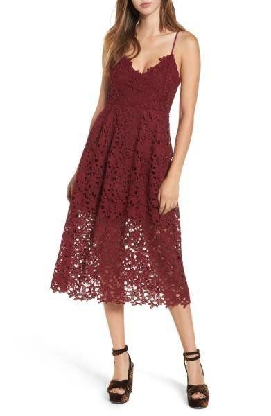 "Get this adorable lace midi in a gorgeous arrange of autumnal colors at <a href=""http://shop.nordstrom.com/s/astr-the-label-lace-midi-dress/4565648?origin=category-personalizedsort&fashioncolor=NAVY%20INDIA%20INK"" target=""_blank"">Nordstrom for $90</a>."