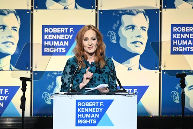 NEW YORK, NEW YORK - DECEMBER 12: J.K. Rowling accepts an award onstage during the Robert F. Kennedy Human Rights Hosts 2019 Ripple Of Hope Gala & Auction In NYC on December 12, 2019 in New York City. (Photo by Mike Pont/Getty Images for Robert F. Kennedy Human Rights)