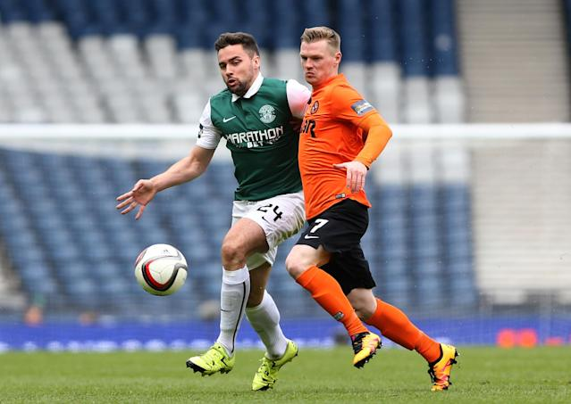 Football Soccer - Hibernian v Dundee United - William Hill Scottish Cup Semi Final - Hampden Park, Glasgow, Scotland - 16/4/16 Dundee United's Billy McKay in action with Hibernian's Darren McGregor Action Images via Reuters / Russell Cheyne Livepic EDITORIAL USE ONLY.