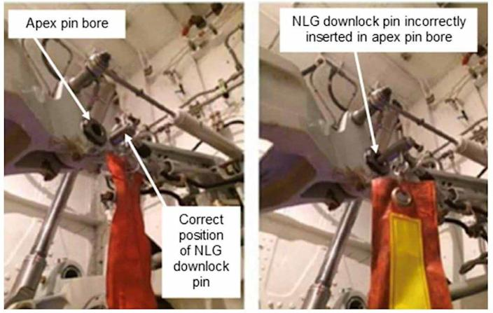 The correct (left) and incorrect position (right) for the nose gear locking pin on the British Airways jet - AAIB/East Anglia News Service
