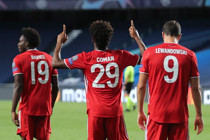 Bayern Munich's Kingsley Coman (29), Robert Lewandowski and Alphonso Davies are part of the most fruitfully efficient operation in European soccer. (Photo by MIGUEL A. LOPES/POOL/AFP via Getty Images)
