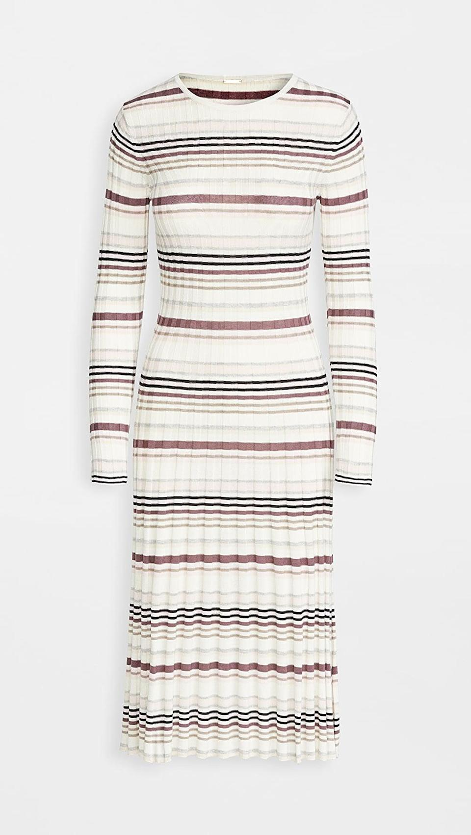<p>This <span>Adam Lippes Stripe Long Sleeve Fitted Dress</span> ($445, originally $890) is exactly what we think of when we think sweater dress.</p>