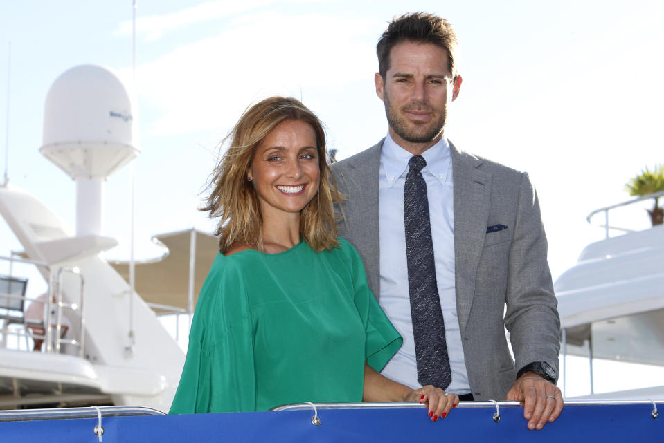 Jamie and Louise Redknapp pose during a photocall at the Cannes Lions 2015, International Advertising Festival in Cannes, southern France, Tuesday, June 23, 2015. The Cannes Lions International Advertising Festival is a world's meeting place for professionals in the communications industry.(AP Photo/Lionel Cironneau)