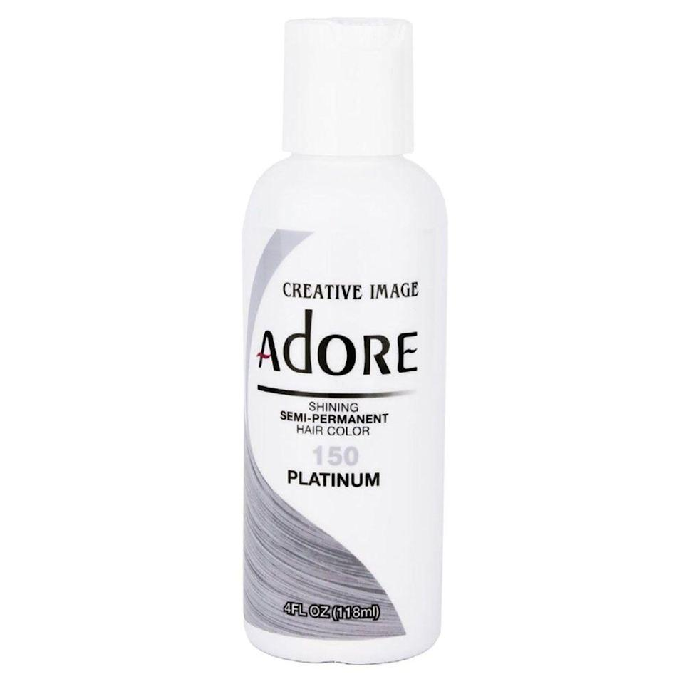 """<p><strong>Adore</strong></p><p><strong>$12.95</strong></p><p><a href=""""https://go.redirectingat.com?id=74968X1596630&url=https%3A%2F%2Fwww.walmart.com%2Fip%2FCreative-Images-Systems-Adore-Semi-Permanent-Haircolor-150-Platinum-4-oz%2F336558111%3Fselected%3Dtrue&sref=https%3A%2F%2Fwww.bestproducts.com%2Fbeauty%2Fg3176%2Fgrey-silver-hair-dye%2F"""" rel=""""nofollow noopener"""" target=""""_blank"""" data-ylk=""""slk:Shop Now"""" class=""""link rapid-noclick-resp"""">Shop Now</a></p><p>Want a grey hair dye that'll only last for a few washes? Then give this semi-permanent dye a try. It'll let you live out all of your silver-vixen dreams, up until you're ready to try something new.</p>"""