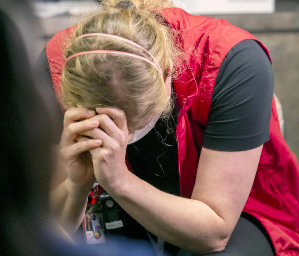 """""""Being critically ill is a very traumatizing experience,"""" says Julie Kleese, a registered nurse who works in the ICU at Oregon Health and Science University in Portland, Ore., Wednesday, Aug. 18, 2021. """"It is confusing, scary—you are alone."""" (Hanin Najjar/Pool Photo via AP)"""