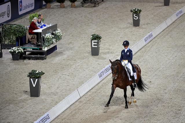 Equestrian - Sweden International Horse Show - FEI Grand Prix Freestyle to Music event - Friends Arena, Stockholm, Sweden - December 3, 2017 - Rose Mathisen of Sweden rides her horse Zuidenwind 1187. TT News Agency/Jessica Gow via REUTERS ATTENTION EDITORS - THIS IMAGE WAS PROVIDED BY A THIRD PARTY. SWEDEN OUT. NO COMMERCIAL OR EDITORIAL SALES IN SWEDEN