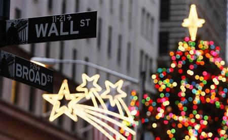 Wall Street sign is seen in front of Christmas decorations on first trading day of 2009 outside of New York Stock Exchange in New York