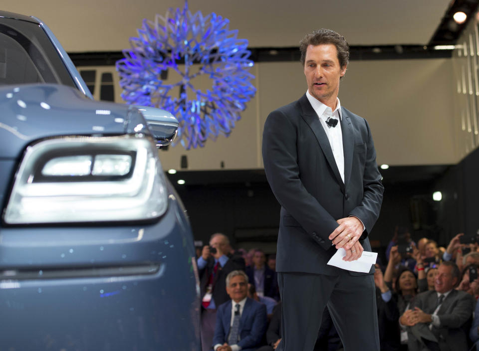 Mar 23, 2016; New York, NY, USA; Lincoln Navigator shown by Matthew McConaughey during the New York international auto show at the Javits Center.