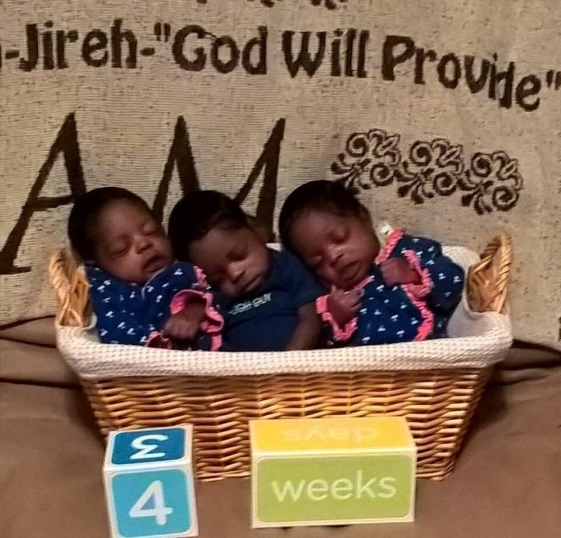 Triplets delivered healthy and on time despitea high-risk pregnancy, in which the mother developed fibroid cysts and had to go on bedrest.