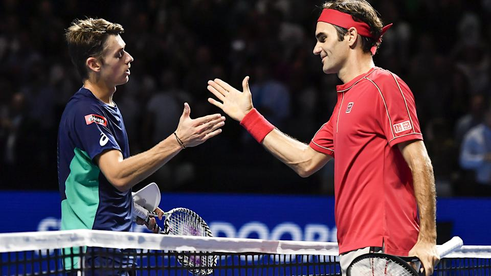 Roger Federer and Alex De Minaur, pictured here after their clash in the Basel final.