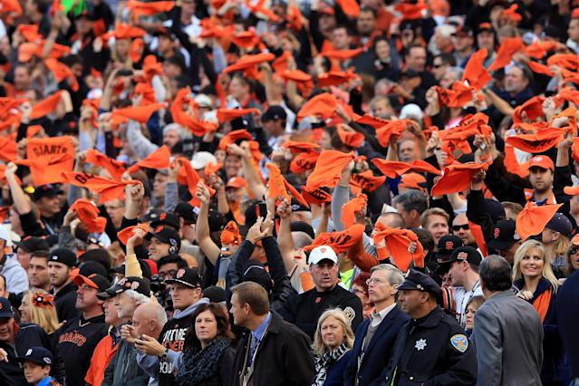 SAN FRANCISCO, CA - OCTOBER 24: Fans Cheer prior to Game One between the San Francisco Giants and the Detroit Tigers in the Major League Baseball World Series at AT&T Park on October 24, 2012 in San Francisco, California. (Photo by Doug Pensinger/Getty Images)