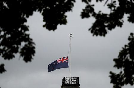 The national flag of New Zealand is seen at half mast near Masjid Al Noor after Friday's mosque attacks in Christchurch, New Zealand, March 16, 2019. REUTERS/Jorge Silva/Files
