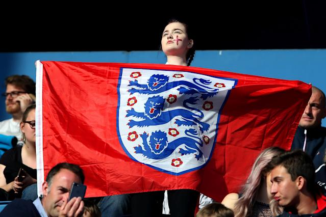 An England fan enjoys the pre match atmosphere prior to the 2019 FIFA Women's World Cup France group D match between England and Argentina at on June 14, 2019 in Le Havre, France. (Photo by Alex Grimm/Getty Images)