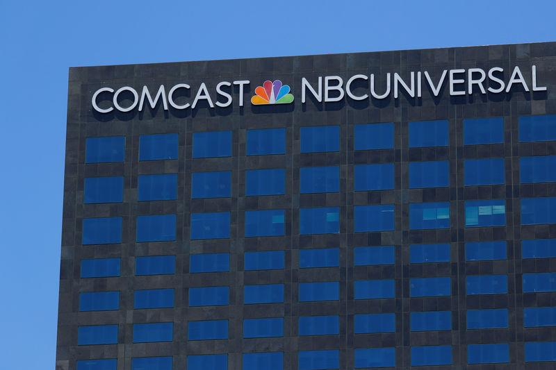 The Comcast NBC Universal logo is shown on a building in Los Angeles, California