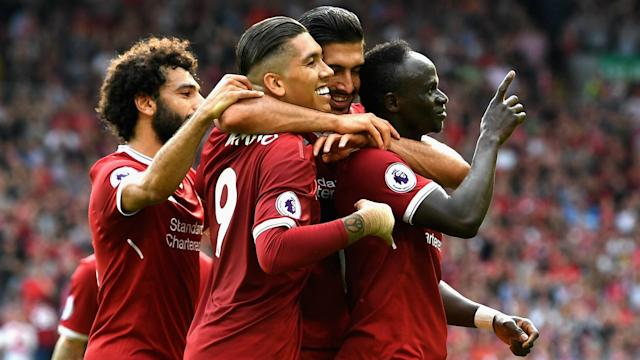 Mohamed Salah (left), Roberto Firmino (front centre) and Sadio Mane (right) are all great options for Gameweek 31.