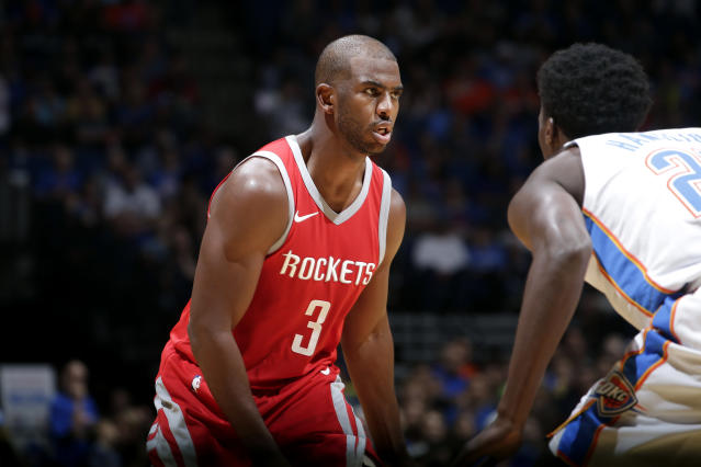 "<a class=""link rapid-noclick-resp"" href=""/nba/players/3930/"" data-ylk=""slk:Chris Paul"">Chris Paul</a> says he knows what he's getting into by joining the Rockets. (Getty)"