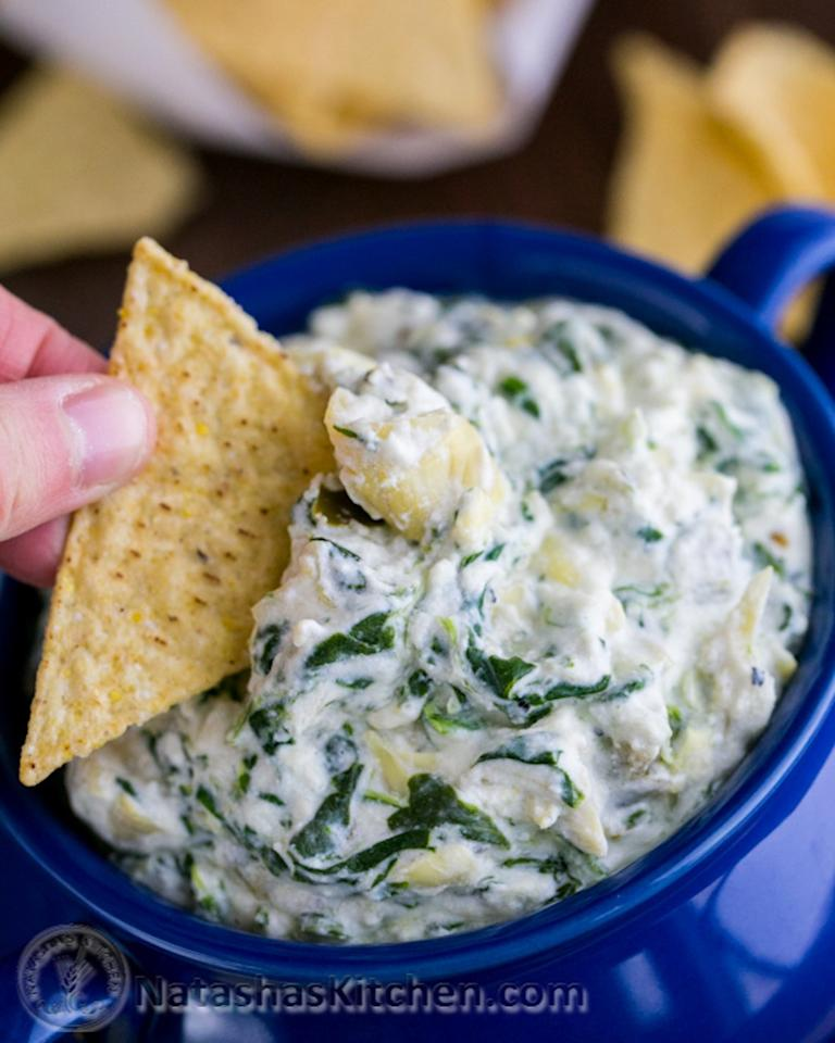 "<p>This dip still has cream cheese and Parmesan, just much less than the original, thanks to the addition of Greek yogurt. Get the recipe <a rel=""nofollow"" href=""http://natashaskitchen.com/2014/01/31/skinny-spinach-and-artichoke-dip-recipe?mbid=synd_yahooFood"">here</a>.</p>"