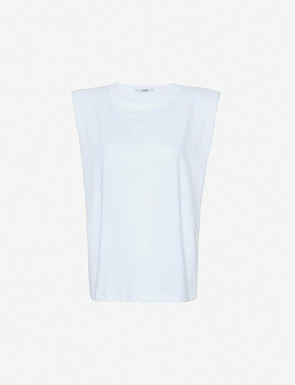 """<p><a class=""""link rapid-noclick-resp"""" href=""""https://go.redirectingat.com?id=127X1599956&url=https%3A%2F%2Fwww.selfridges.com%2FGB%2Fen%2Fcat%2Ffrankie-shop-eva-padded-cotton-jersey-top_R01466411%2F%3FpreviewAttribute%3DWHITE&sref=https%3A%2F%2Fwww.harpersbazaar.com%2Fuk%2Ffashion%2Fwhat-to-wear%2Fg27282427%2Fbest-white-t-shirt-women%2F"""" rel=""""nofollow noopener"""" target=""""_blank"""" data-ylk=""""slk:SHOP NOW"""">SHOP NOW</a><br></p><p>The Frankie Shop's Eva T-shirt kick started fashion's obsession with '80s-inspired basics and shoulder pads. It's nearing cult status, actually, since the brand has barely been able to keep it in stock for the past year. It's finally back for AW20 alongside some new colourways, but the white is our favourite due to its versatility.</p><p>Eva padded cotton-jersey top, £75, The Frankie Shop</p>"""