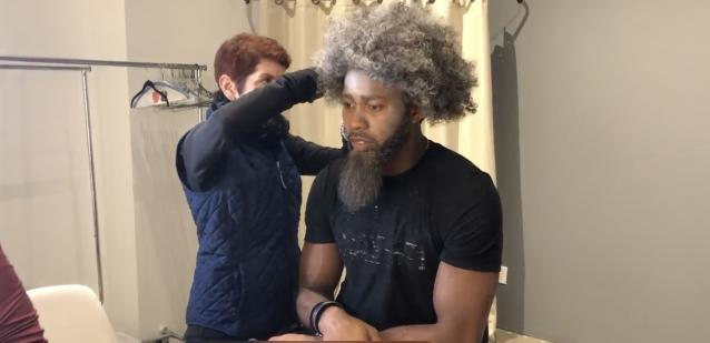 "Josh Norman prepares for a scene in the show ""Taking ConTroll."" (Yahoo Sports)"