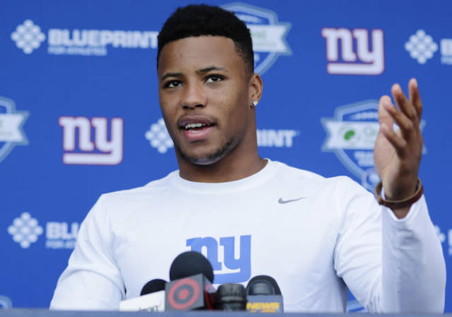 "Fantasy owners who step up to the mic and select <a class=""link rapid-noclick-resp"" href=""/nfl/players/30972/"" data-ylk=""slk:Saquon Barkley"">Saquon Barkley</a> probably won't be disappointed. (AP Photo/Frank Franklin II)"