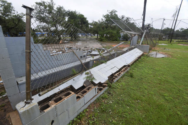 <p>The dugout of a baseball field is destroyed in Fort Walton Beach, Fla. on June 20, 2017, as severe weather from Tropical Storm Cindy brushed along the northwest coast of Florida. (Photo:Devon Ravine/Northwest Florida Daily News via AP) </p>