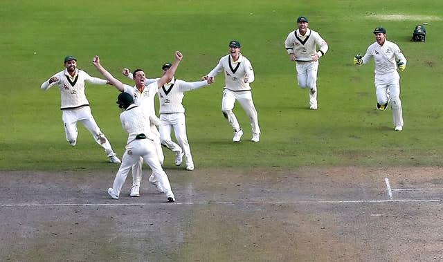 Australia's Josh Hazlewood (second left) celebrates the wicket of England's Craig Overton with his team-mates as they retained the Ashes (Martin Rickett/PA)