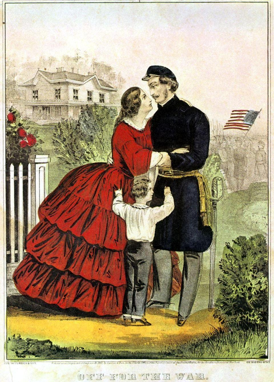 <p>With the United States at war, dresses became simpler in terms of fabric and design. Instead of opulent debutante gowns, women would wear full skirts made of just one material.</p>